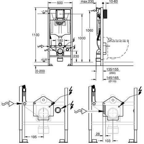 Grohe Rapid SL Mounting Frame Diagram